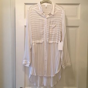 Leith high/low button down shirt/dress